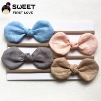 4 pcslot solid nylon headband cute bow headbands for kids girls soft elastic hair accessories cotton and linen fabric headbands