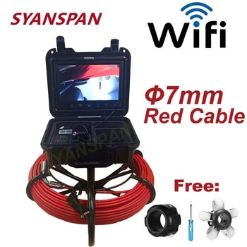 7mm Cable Pipe Inspection Video Camera 9 inch Wireless WiFi , Camera 17MM Drain Sewer Pipeline Endoscope support Android/IOS