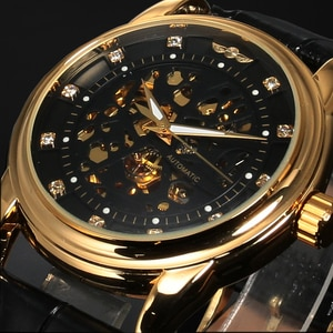 Top Brand Fashion Luxury Diamond Black Gold Watch Hollow Dial Design Leather Wristband Waterproof Alloy Case Mechanical Watches