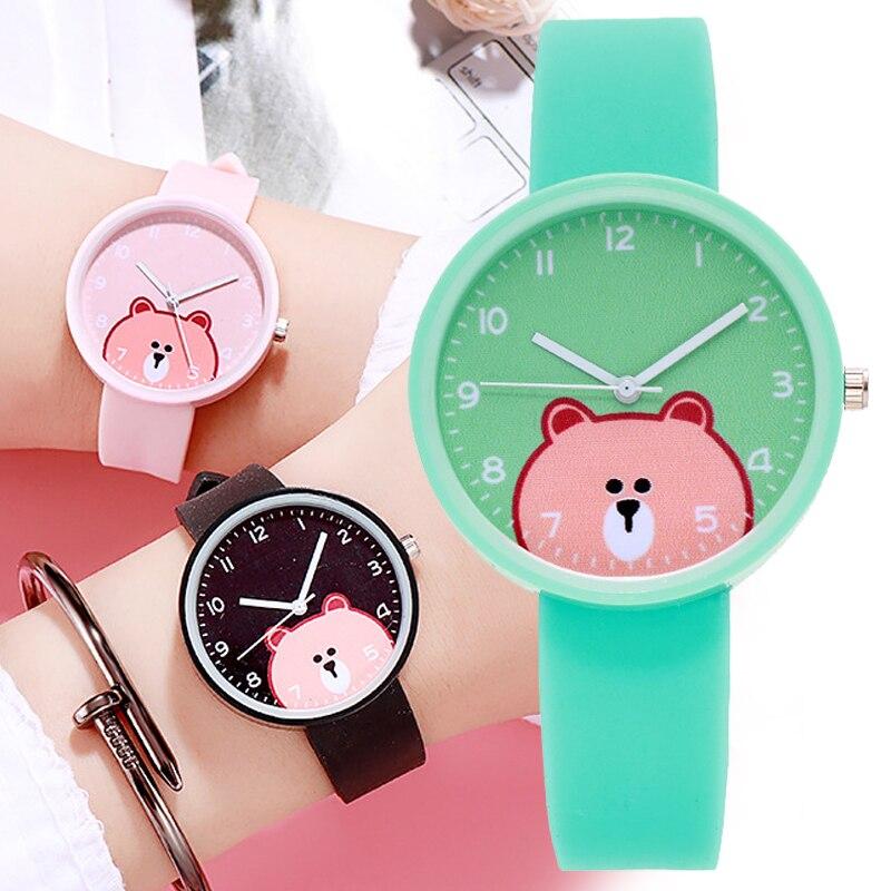 2020 New Fashion Bear Cartoon Women Watch for Children Girls Kids Sport Digital Watches for Kid Boys Birthday Gift Student Clock