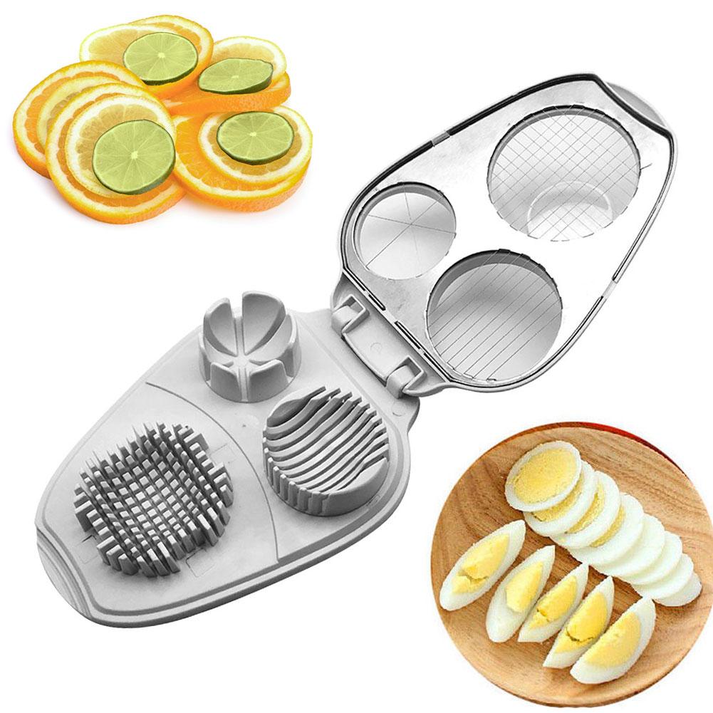 3 en 1 cuñas de acero inoxidable aguacates herramienta práctica de cocina cortador de huevos multifuncional Cortador Manual