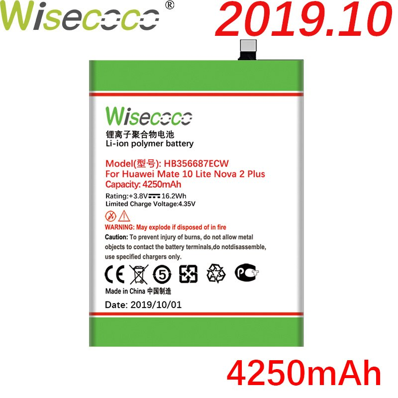 Wisecoco 4250mAh HB356687ECW batería para huawei Nova 2 plus Nova 2i honor 9i huawei G10 Mate 10 lite Teléfono + número de seguimiento