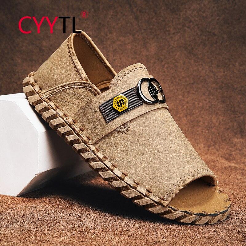 CYYTL Men's Summer Fashion Flat Sandals Casual Non Slip Slippers Open Toe Soft Leather Shoes Handmade Roman Pantuflas Hombre