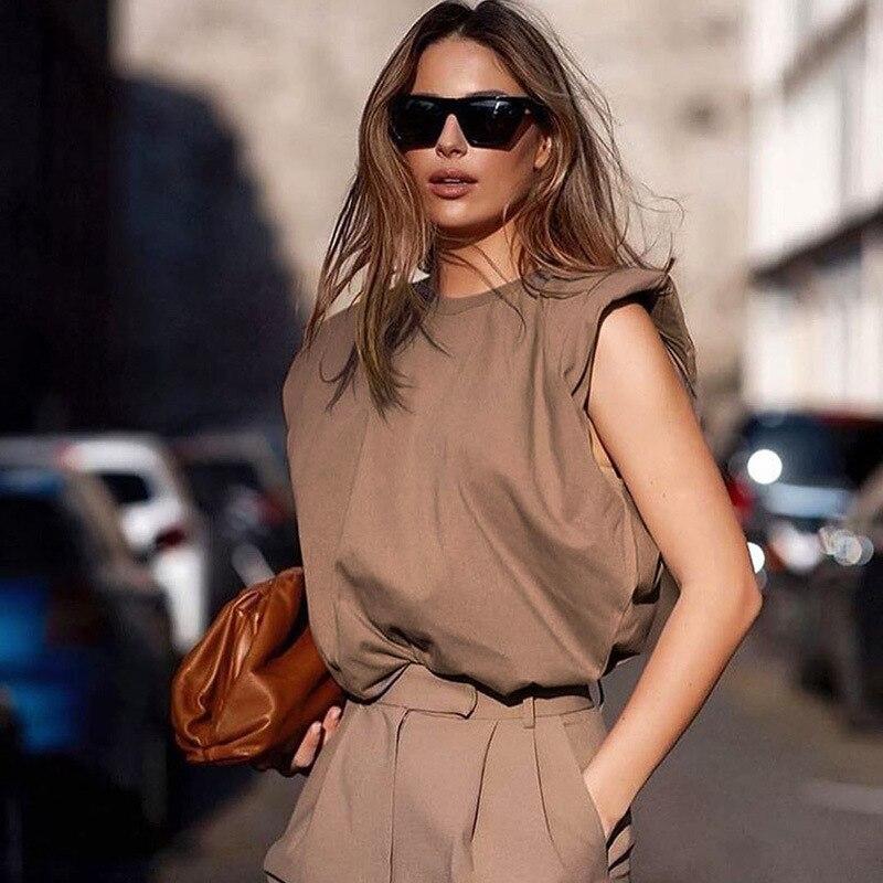 Прочная Женская удобная свободная Приталенная футболка с подкладками, женская блузка-жилет с коротким рукавом