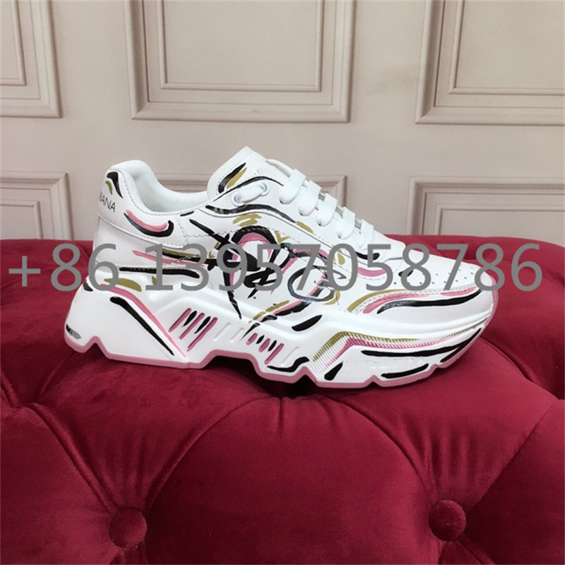 2021 Men Running Shoes Genuine Leather Women Sneakers Outdoor Sports Round Toe Printin Mixed Color Fashion Luxury Brand Designer