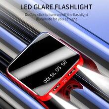 20000mAh Power Bank Portable Charging Poverbank Mobile Phone LED Mirror Back Power Bank External Bat