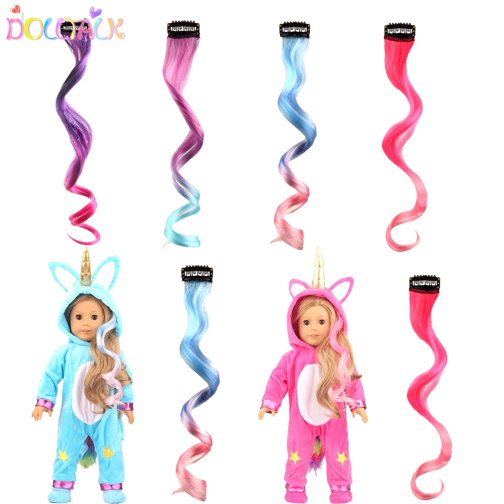 40cm Multi-color Doll Hair DIY Long Straight High Temperature Fiber Doll Hair Piece For American Russia BJD SD&Other Girl Dolls