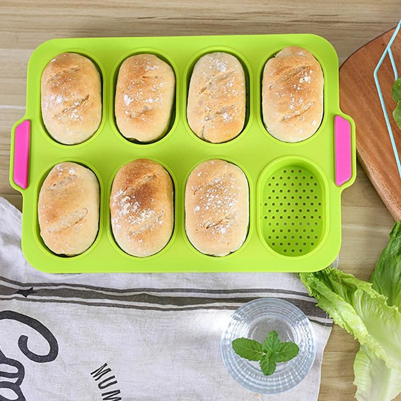 8 rejillas de cocina multiusos molde de Pan antiadherente molde de bandeja de hornear Baguette de silicona de grado alimenticio Pan hogar utensilios de cocina