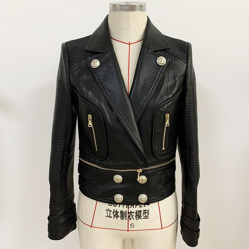High Quality Autumn Winter Fashion Black PU Faux Leather Jacket Women Metal Button Biker Jackets Coat Female Casual Outwear Tops enlarge