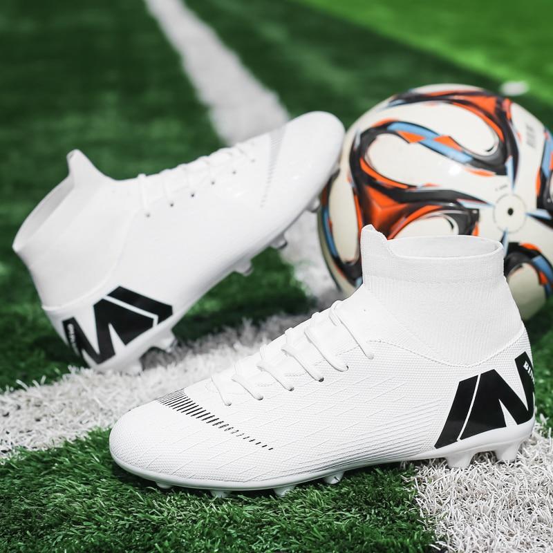 Женские и мужские футбольные бутсы горячая Распродажа, высокие футбольные бутсы с длинными шипами, уличные футбольные бутсы для мужчин и же...
