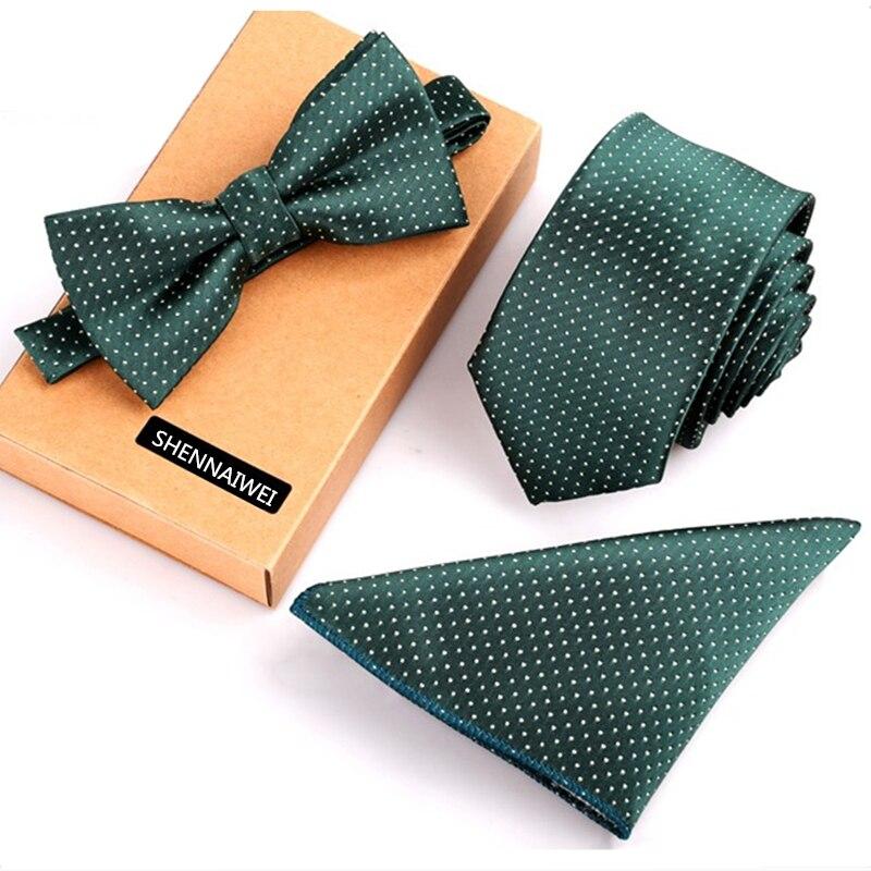 New mens necktie sets tie and pocket square bow tie set 3pcs bowtie set stripe mens black neck ties and handkerchief man gift недорого