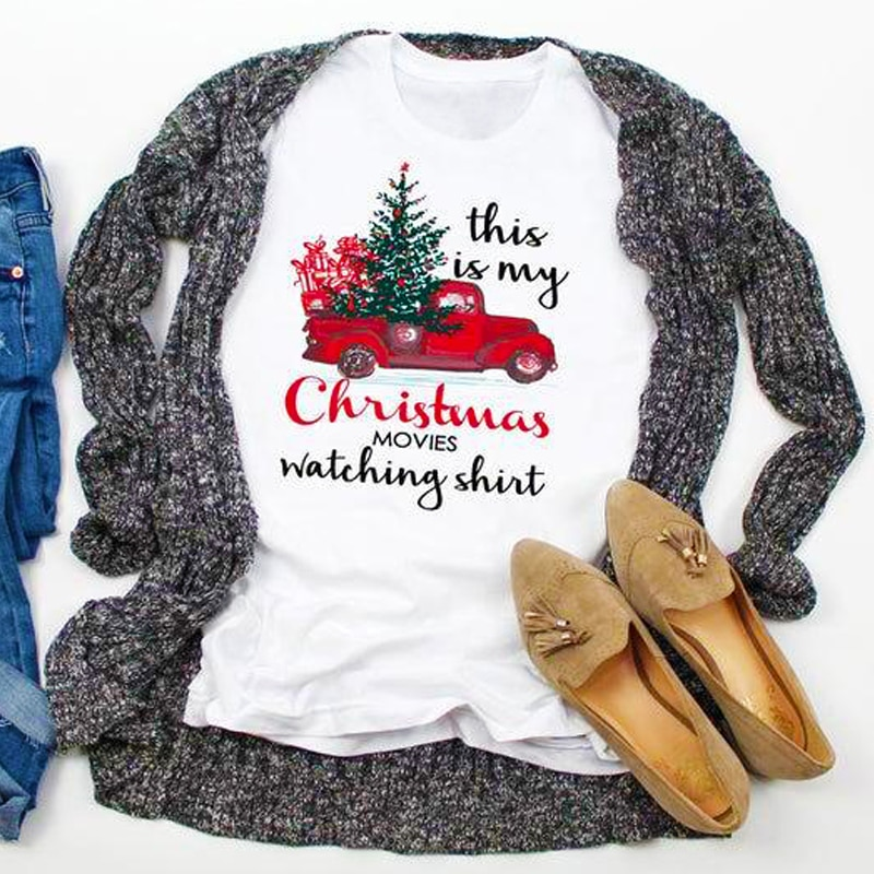 This Is My Christmas Movies Watching Shirt Colored T-shirt Funny Holiday Gift Tshirt Aesthetic Women