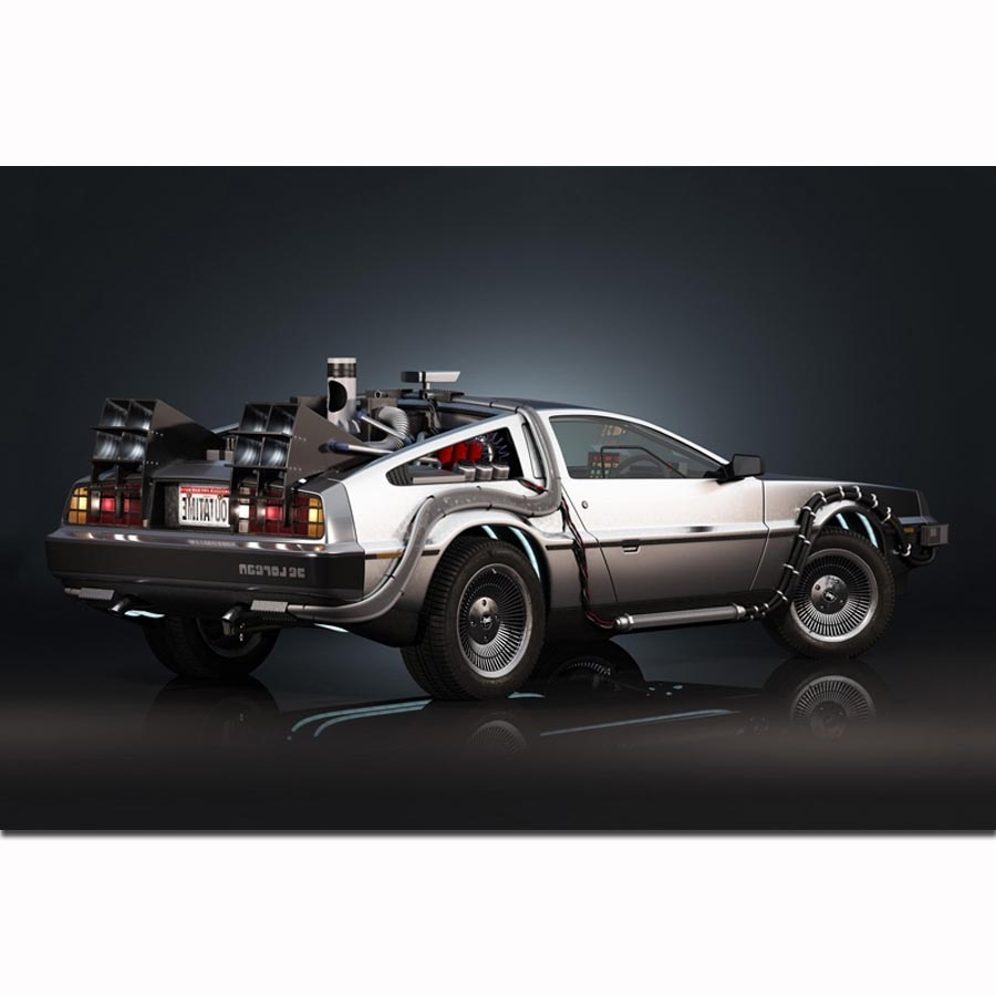 MQ3823 Back To The Future The Car Delorean Cool Car Classic Movie Art Poster Silk Light Canvas Home Decor Wall Picture Print