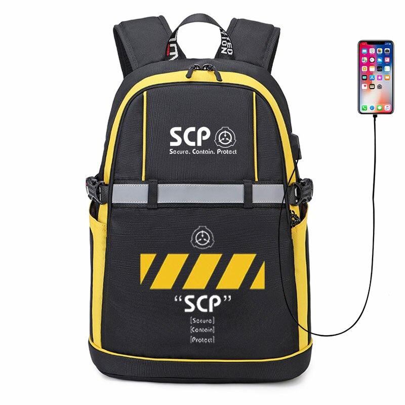 حقيبة ظهر جديدة SCP خاصة بالحاويات حقيبة ظهر أنيمي على شكل حرف USB حقيبة ظهر نسائية أكسفورد عاكسة بشريط حقيبة مدرسية حقائب سفر