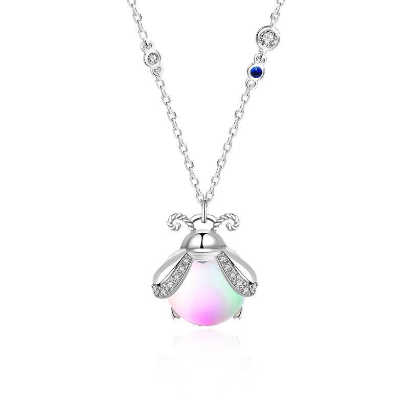 Простой-925-стерлингового-серебра-звено-цепи-лунный-камень-насекомых-ожерелье-с-подвеской-в-виде-кулон-ювелирные-изделия-для-женщин-Свадебн