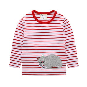 Girls clothes 2020 New Girl Long Sleeve Top Cotton  Stripes cartoon Print Round Neck Girls Long Sleeve T-shirt for girl