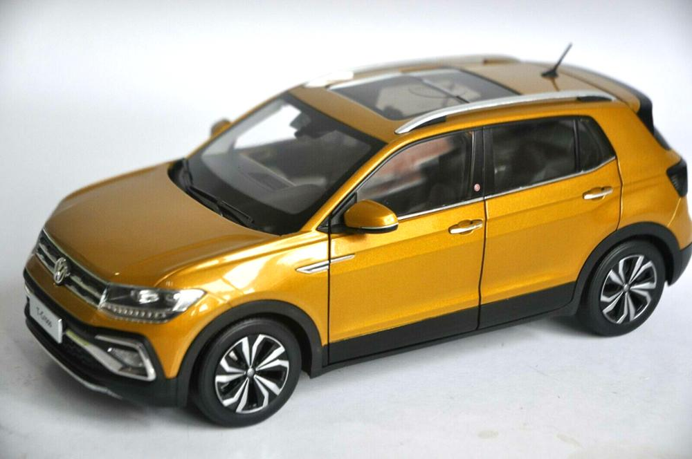 Modelo fundido a presión 118 para Volkswagen VW T-CROSS 2018, SUV dorado, aleación de juguete, colección de coches en miniatura, regalos, superventas, Tcross T Cross