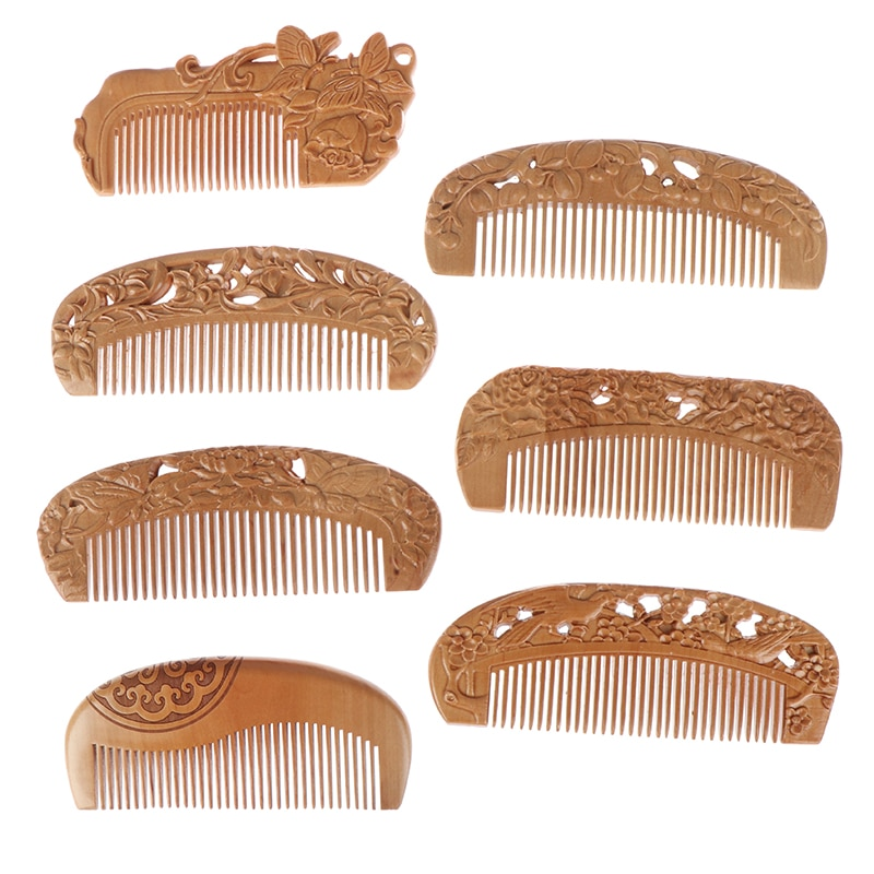 natural shen guibao wood buffalo horn exquisite thick long handle wooden comb coarse teeth hair massage no static combs 7 Styles Natural Peach Wood Comb Healthy No-static Massage Hair Wooden Comb Health Care New Design Combs
