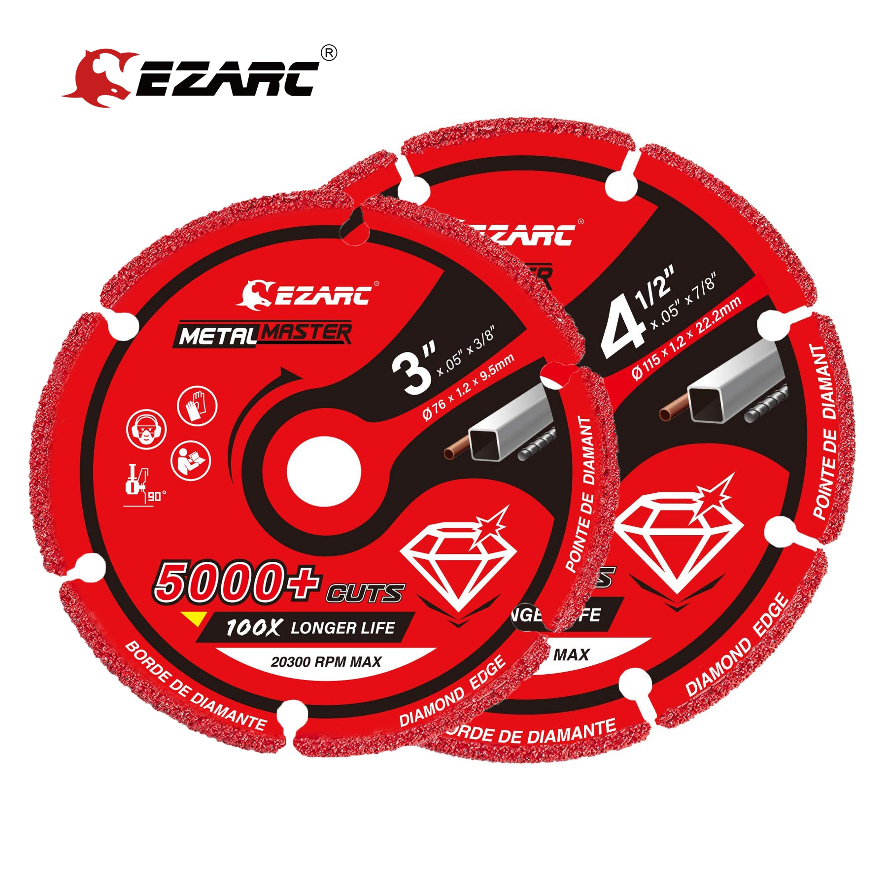 EZARC Diamond Cutting Wheel 3 x 3/8 Inch & 4-1/2 x 7/8 Inch for Metal,Cut Off Wheel with 5000+ Cuts on Rebar,Steel,Iron and INOX