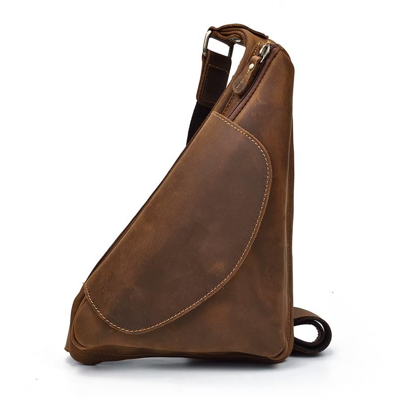 Men's leather chest bag Crazy Horse leather retro messenger bag outdoor cowhide shoulder bag