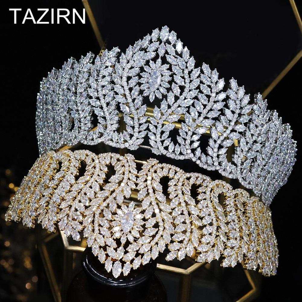 Big Tiaras Zircon Crowns Bridal Wedding Headwear Women Hair Accessories Bridal Diadem For Pageant Party CZ Head Jewelry Queen
