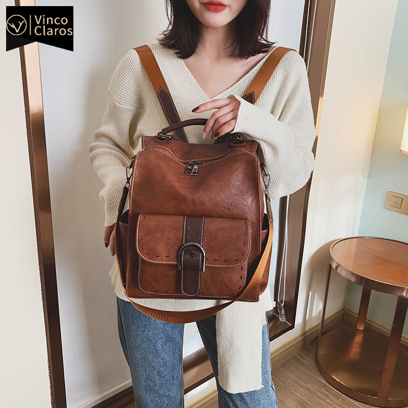Luxury Women Backpack 2020 Vintage Travel PU Leather Backpack Large Capacity Bookbag High Quality School Bags for Teenage Girls