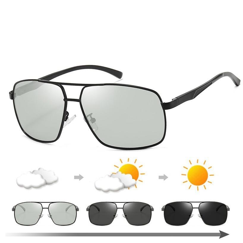 Camiseta nueva calidad gafas de sol cuadradas fotocromáticas hombres mujeres polarizadas camaleón aluminio magnesio gafas de sol cambio de Color