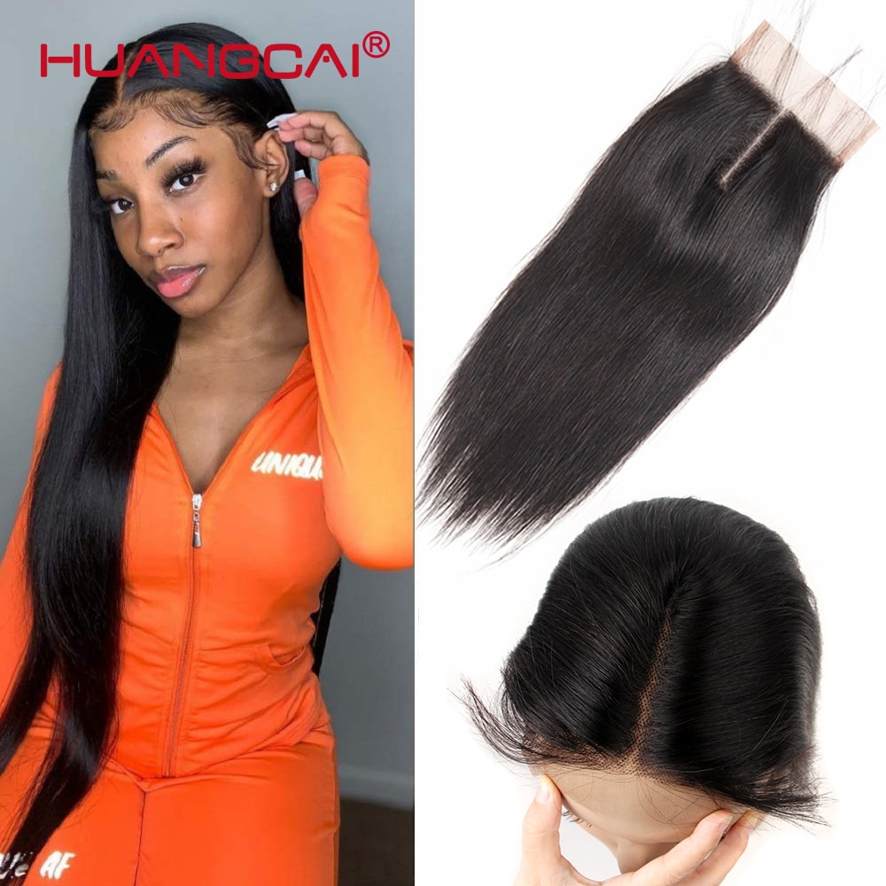 Фото - 20 22 24 Inch Brazilian Lace Closure Straight Human hair Middle Part 4x4inch Remy Closure Can Be Dyed Bleached Closure Only be only