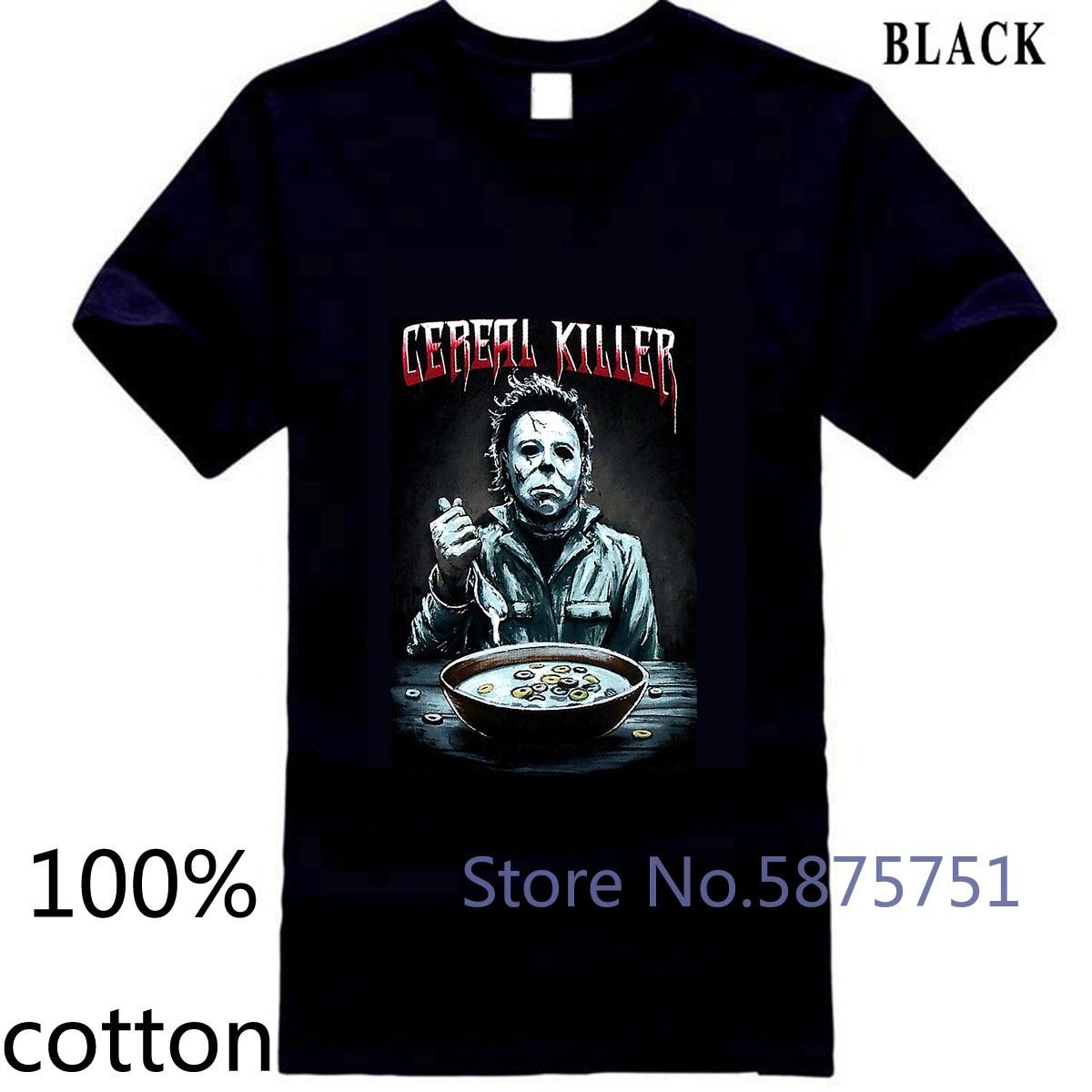 Halloween película Cereal Killer, Michael Myers, camiseta de hombre de estilo chino adulto camiseta tops camisetas hombre 100% de algodón
