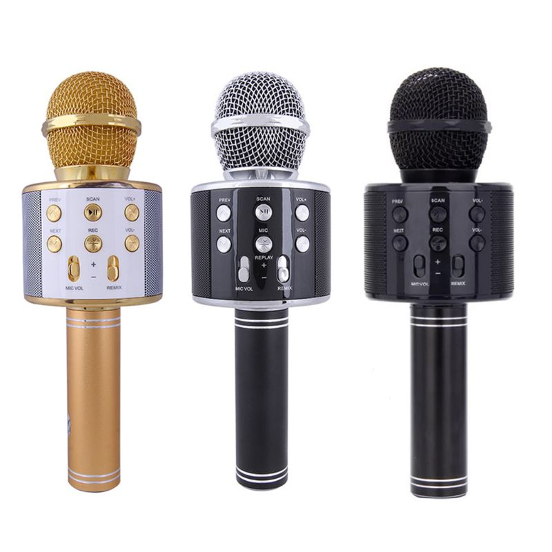 skm9000 100 m uhf wireless microphone professional karaoke system dual cordless mic 2 channel receiver ktv microfono inalambrico WS858 Wireless Bluetooth Karaoke Microphone Stereo Mic KTV USB Speaker Player
