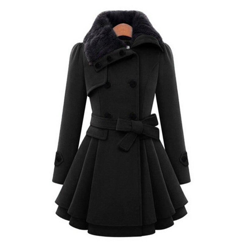 معطف طويل من الصوف بطبقة مزدوجة على الصدر بياقة من الفرو للنساء, للخريف والشتاء ، بحزام رفيع