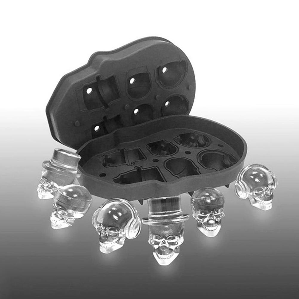 Bandeja para cubitos de hielo de 6 cavidades, molde para pudín, molde de silicona 3D DIY, máquina de hielo, uso doméstico, accesorios de cocina