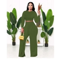 2021 autumn womens solid casual two piece sets long sleeve t shirt crop top bucket pants wide leg trousers long palazzo pants