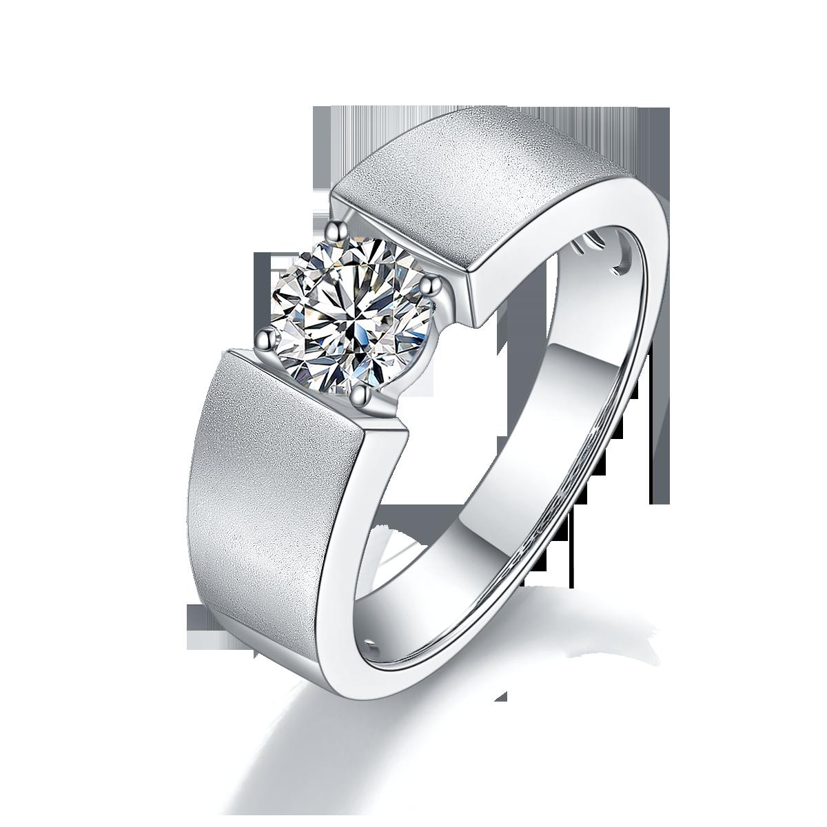 GEM'S الباليه 6.5 مللي متر الجولة الحقيقي مويسانيتي العتيقة 925 فضة خاتم سوليتير الذكور خاتم للرجل الزفاف غرامة مجوهرات