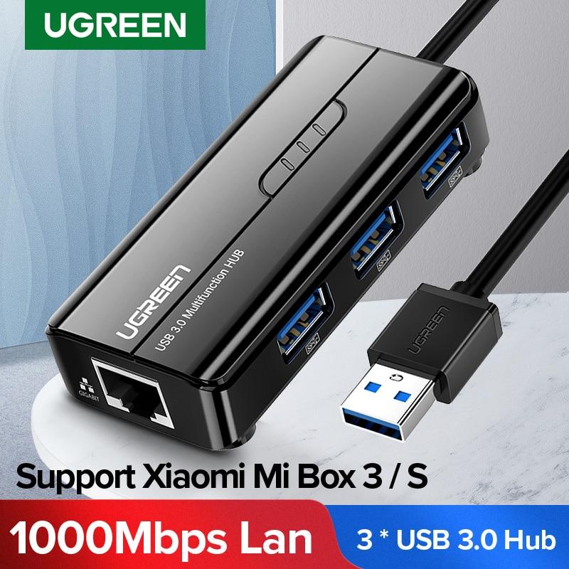 Ugreen USB Ethernet USB 3.0 2.0 to RJ45 HUB for Xiaomi Mi Box 3/S Set-top Box Ethernet Adapter Network Card USB Lan