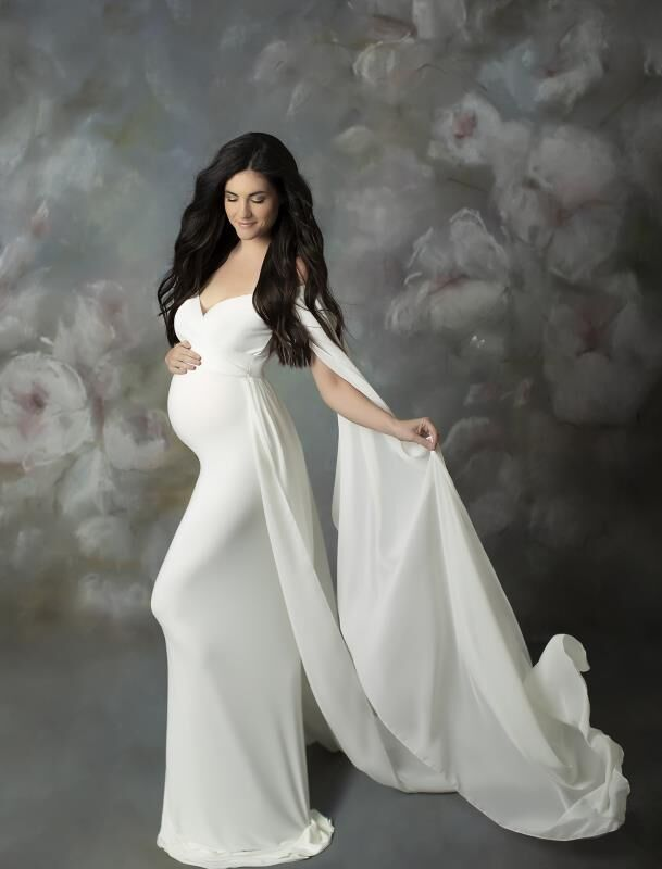Chiffon Cape Maternity Party Dress Pregnant Woman Taking Photo Photography  Tail Photo Dress Robe Shooting Grossesse enlarge