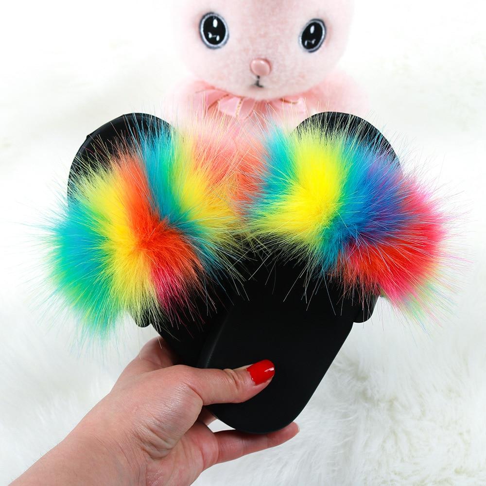 Kids Fur Slippers Real Fox Slides Child Raccoon Home Flop Flip Mules Furry Flat Sandals Girls Cute F