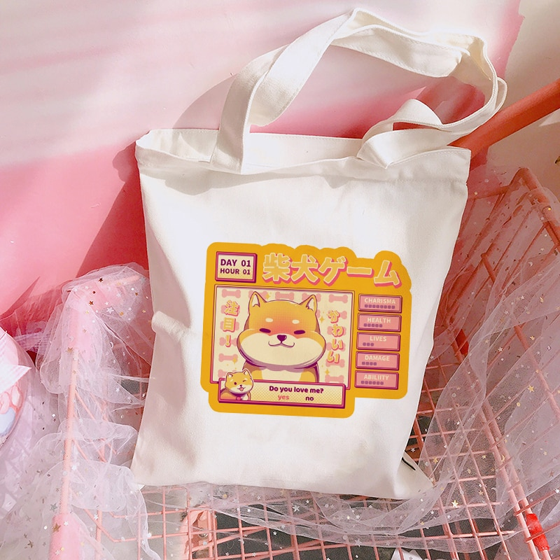 Reusable Shoulder Bags for Ladies Travel Handbags Cartoon corgi Canvas Tote Bag Fashion Shopping bag Reusable Women Shopper bag
