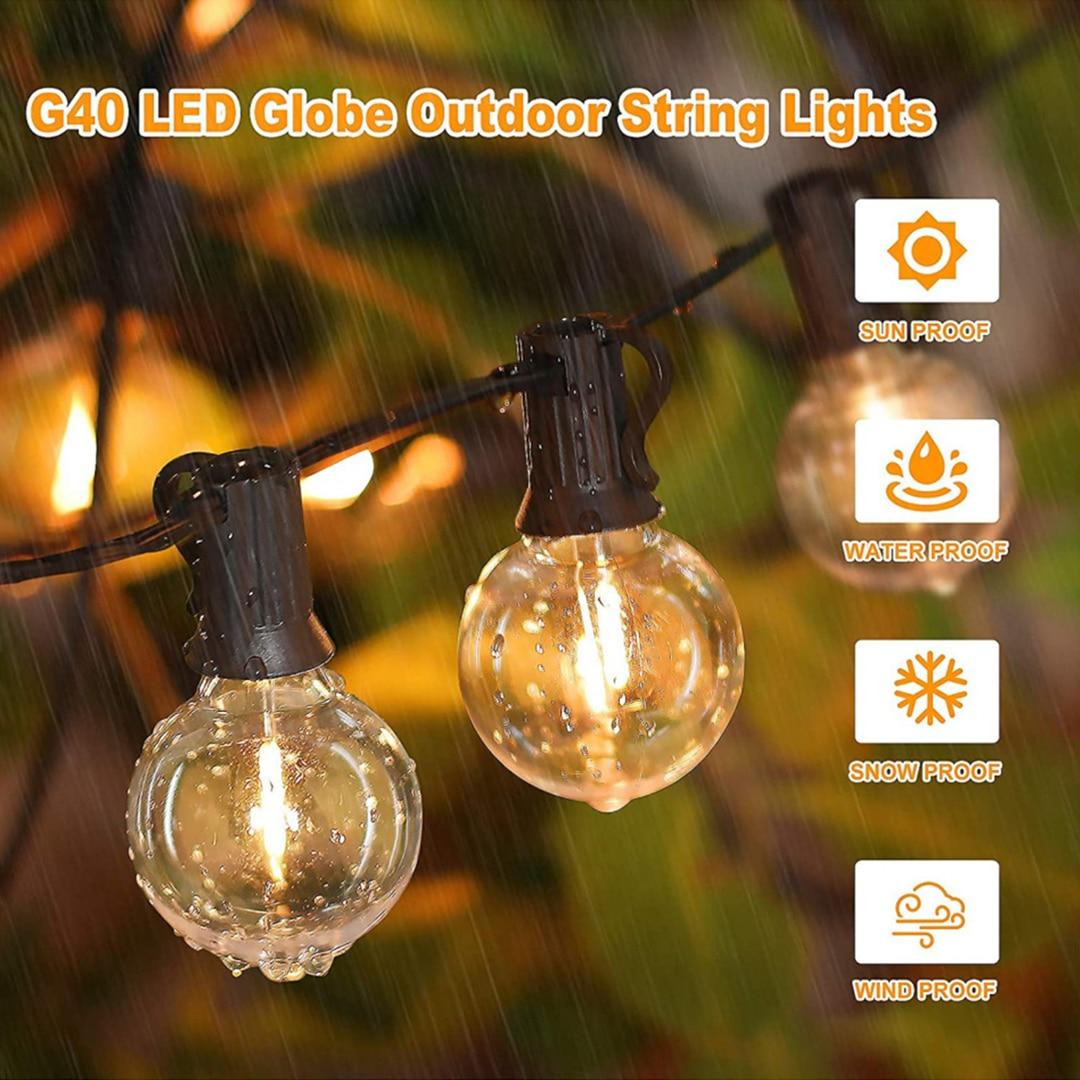 СВЕТОДИОДНАЯ Гирлянда G40 с круглыми лампочками, уличная лампа-лента с лампочками для вечеринки, сада, свадебная декоративная Рождественска...