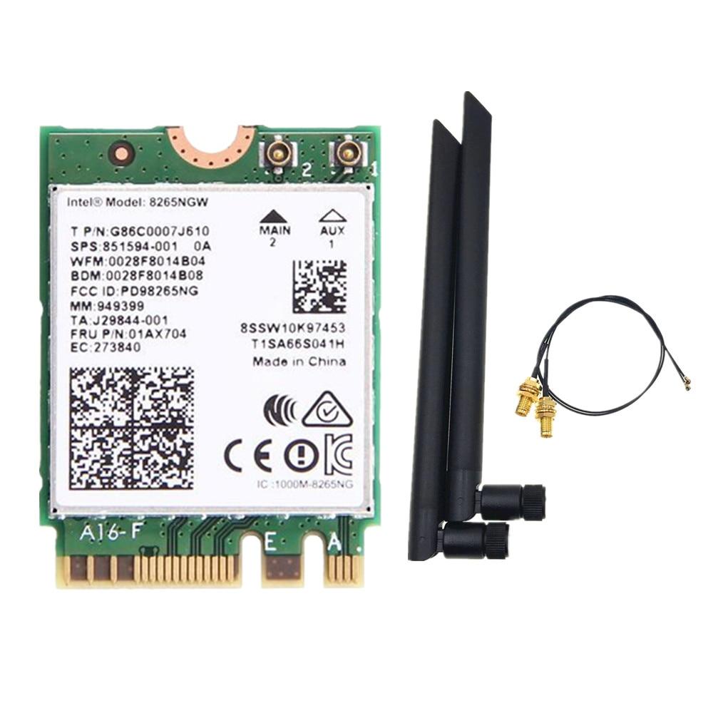 6dbi doble banda 2,4G/5Ghz MHF4 antenas set + Intel 8265NGW Wireless-AC 8265 NGFF 802.11ac 867Mbps 2x2 MU-MIMO WIFI BT tarjeta 4,2