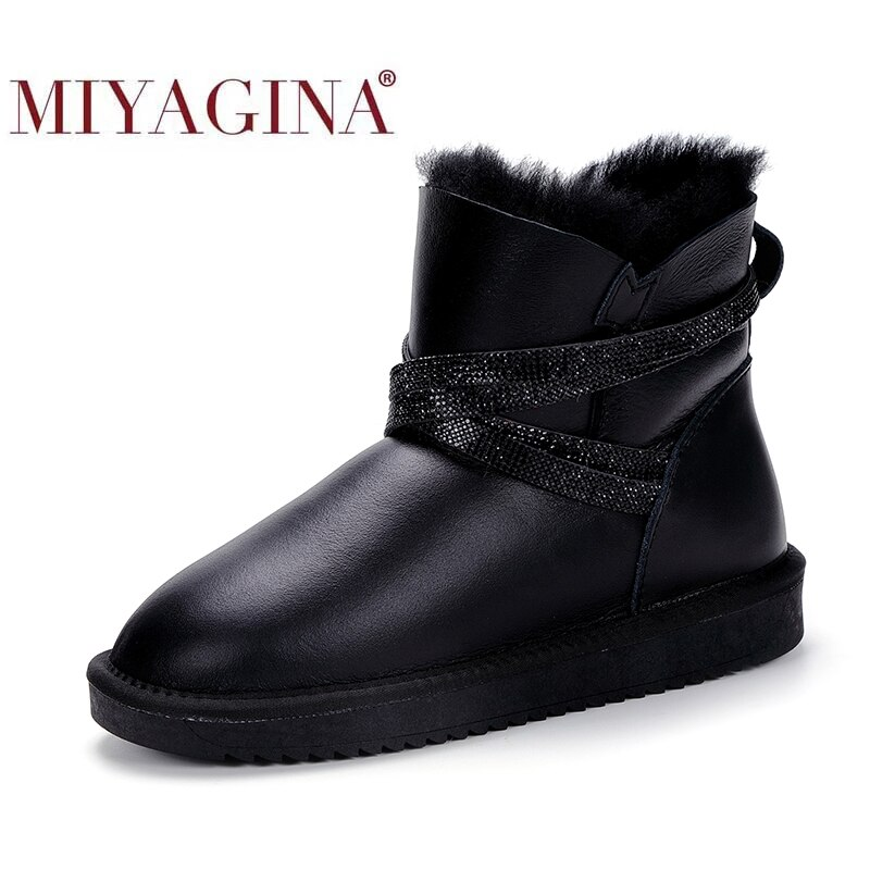 MIYAGINA Waterproof Sheepksin Leather Shearling Wool Fur Lined Short Winter Boots Women Ankle Snow Boots Silver Crystal Strap