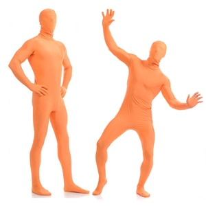 Free shipping Zentai Full Body Skin Suit Catsuit Halloween Costumes customized for open eyes mouth can add crotch zipper