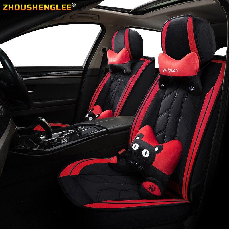 ZHOUSHENGLEE cubierta de asiento de coche de cuero delantero y trasero para mitsubishi pajero sport kia carnival toyota chr hyundai kona i10 i20 i