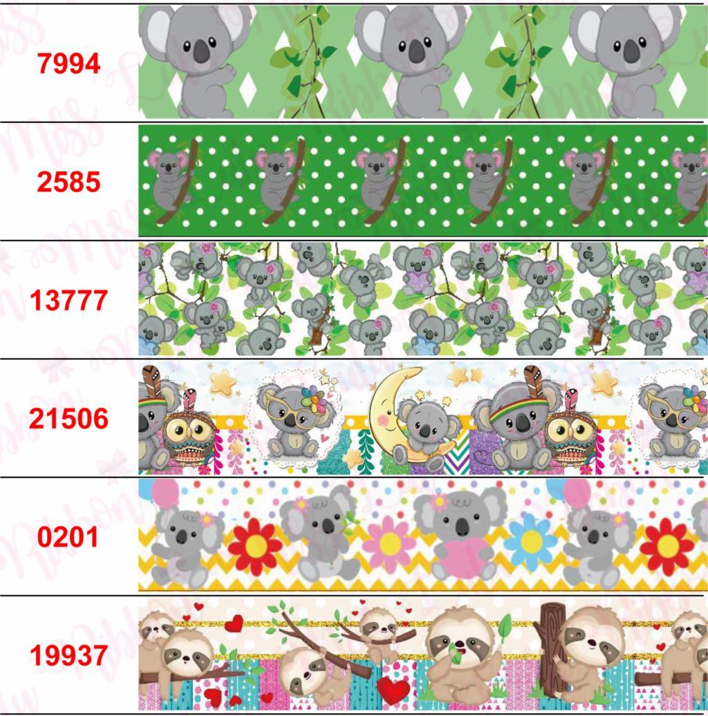 16mm-75mm dibujos animados Koala lindo Animal impreso Grosgrain/cinta elástica flor geométrica DIY pelo Bowknots fiesta decoración 50 yardas/rollo