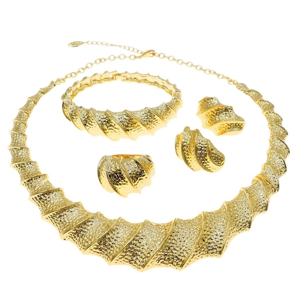 رائعة البرازيلي الذهب قلادة كبيرة طقم مجوهرات سوار السيدات أقراط الطوق السيدات مأدبة مجوهرات HV21080535