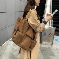 2020 fashion winter warm plush tote large capacity thick chain shopping bags fluffy handbag ladies travel handbag