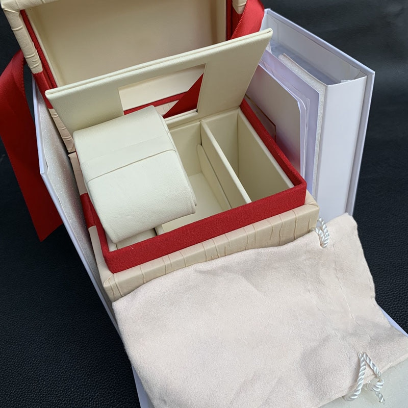 new square Red box watch booklet card tags and papers in english watches Box Original Inner Outer Men Wristwatch box enlarge