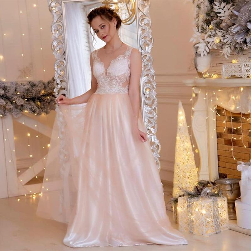 MoonlightShadow Exquisite Wedding Dresses A-Line O-Neck Sleeveless Floor-length Appliques Pink Bridal Gown Vestido De Novia