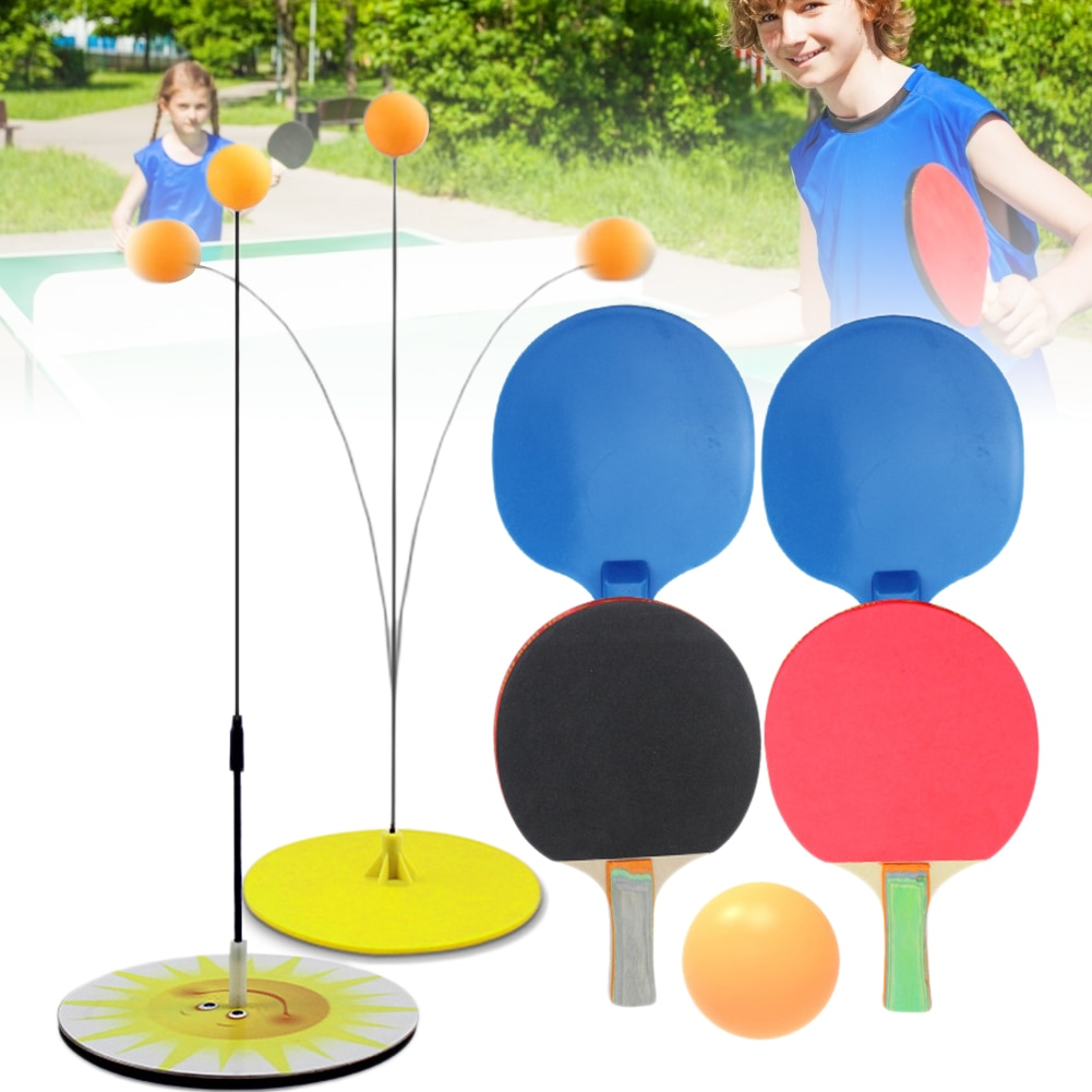 portable table tennis trainer table tennis soft shaft training machine elasticity kid adult ping pong practice trainer Table Tennis Trainer Rebound Ping Pong Trainer Flexible Soft Shaft Ping Pong Balls Paddles Set for Kids Adults