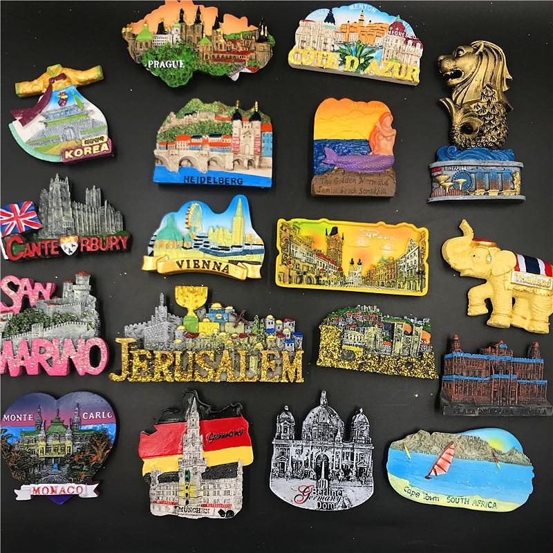 Магнит на холодильник из смолы ручной работы, Таиланд, Корея, Германия, Венский сувенир, сувенир на холодильник, магнитная наклейка, домашний декор